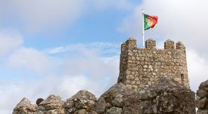 Flag of portugal on a historic castle Royalty Free Stock Photography