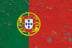 Flag of Portugal painted on cracked dirty wall. National pattern on vintage style surface royalty free illustration