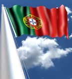 The Flag of Portugal Portuguese: Bandeira de Portugal is the national flag of the Portuguese Republic. It is a rectangular bicol. Our with a field unevenly Stock Photo