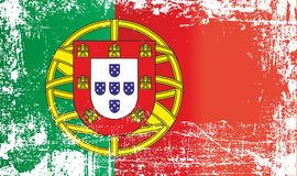 Flag of Portugal, Portuguese Republic. Wrinkled dirty spots. vector illustration