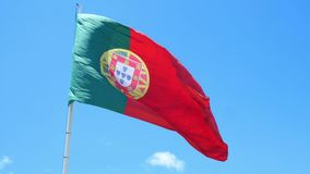 Flag Portugal wind. Isolate flag of Portugal on a flagpole fluttering stock video