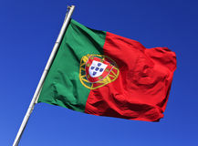 Flag of Portugal in the wind, Lisbon, Portugal. Stock Photos