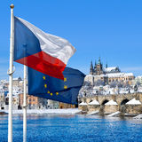 Flag, Prague castle and Lesser town, Prague, Czech republic Royalty Free Stock Photos