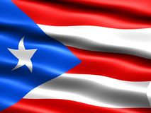 Flag of Puerto Rico. Computer generated illustration with silky appearance and waves Stock Photos