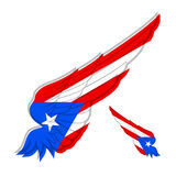 Flag of Puerto Rico on abstract Wing and white background. Vecto Stock Images