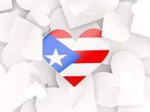 Flag of puerto rico, heart shaped stickers. Background. 3D illustration Stock Photos