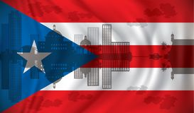Flag of Puerto Rico with San Juan skyline. Illustration Royalty Free Stock Images