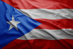 Flag of Puerto Rico. Waving colorful national Puerto Rico flag Stock Photography