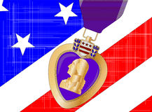 Flag and Purple Heart. The Stars and Stripes flag with a purple heart medal overlayed Stock Image
