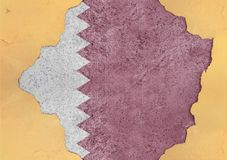 Flag of Qatar in big broken material concrete hole facade structure close. Flag of Qatar in big broken material concrete hole facade structure royalty free stock photo