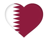 Flag of  Qatar Heart. Stock Photo
