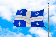 Flag of the Quebec province, Canada royalty free stock photography