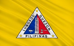 Flag of Quezon City, Philippines. Flag of Quezon City is the most populous city in the Philippines. 3D illustration stock illustration
