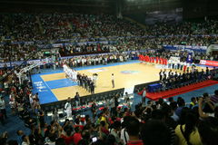 Flag-raising ceremony. In basketball stadium  of the the stankovic cup in guagnzhou china 2013 Royalty Free Stock Photos