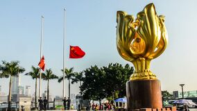 The flag-raising ceremony is held on the Bauhinia square, Hong Kong,China