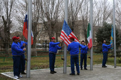 Flag Raising Ceremony Stock Photo