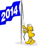 Flag Raising new year 2014 Royalty Free Stock Photo