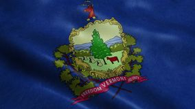 State of Vermont Flag Seamless Looping Waving Animation. Flag Realistic Animation Seamless Loop stock footage