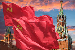 The flag Red. The flag of the Soviet Union waving in the wind Stock Photo