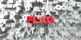 FLAG -  Red text on typography background - 3D rendered royalty free stock image Royalty Free Stock Image