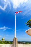 Flag,red,white,blue. Flag of thailand red white and blue sky Stock Photo