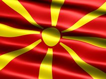 Flag of the Rep. of Macedonia. Computer generated illustration of the flag of the Republic of Macedonia with silky appearance and waves stock illustration