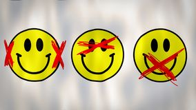 Flag representing the Three wise monkeys in the smile version, ideal footage to represent the human ignorance in an royalty free illustration