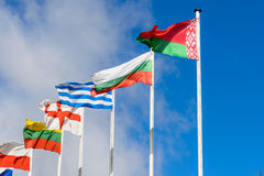 Flag of the Republic of Belarus and foreign countries against th. Flag of the Republic of Belarus and foreign countries against Stock Images
