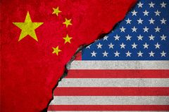 Flag of the republic of china on broken brick wall and half usa Royalty Free Stock Photo