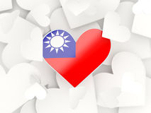Flag of republic of china, heart shaped stickers Stock Photo