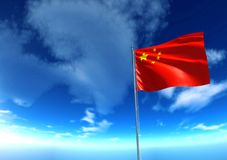 Flag of Republic of China under blue sky. 3D rendering Stock Photo