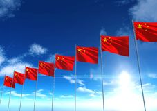 Flag of Republic of China under blue sky. 3D rendering Stock Images