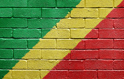 Flag of Republic of the Congo on brick wall Stock Images