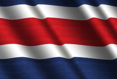Flag of Costa Rica. Flag of Republic of Costa Rica Royalty Free Stock Photo