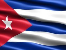 Flag of the Republic of Cuba. Computer generated illustration of the flag of the Republic Cuba with silky appearance and waves Royalty Free Stock Photos