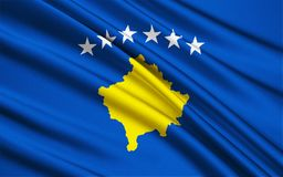 Flag of Kosovo. The flag of the Republic of Kosovo was adopted by the Assembly of Kosovo immediately following the declaration of independence of the Republic of royalty free illustration