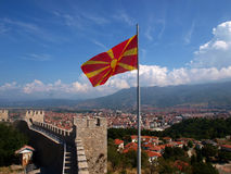 Flag of Republic of Macedonia. The flag of Republic of Macedonia flying over the city of Ohrid in the tzar Samuel fortress Stock Photos