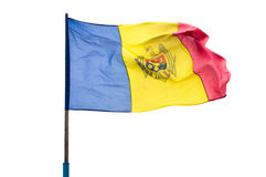 Flag of the Republic of Moldova. On a white background in the wind Stock Photo