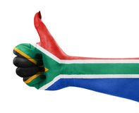Flag of Republic of South Africa on hand. Flag of Republic of South Africa on female's hand Royalty Free Stock Image