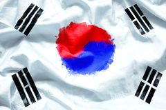 Flag Republic of South Korea by watercolor paint brush on canvas fabric, grunge style stock photo