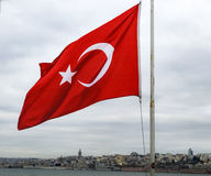 Flag of the Republic of Turkey. Istanbul Turkish flag waving on the throat royalty free stock photo