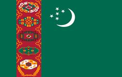 The Flag Of The Republic Of Turkmenistan. Vector Illustration royalty free illustration