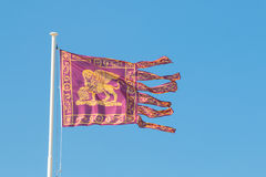Flag of the republic of venice waves in the wind Royalty Free Stock Photo