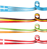 Flag ribbon set Stock Photos