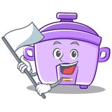 With flag rice cooker character cartoon. Vector Royalty Free Stock Images