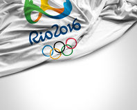 Flag with Rio 2016 Olympic Games Stock Photo