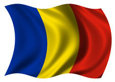 Flag of Romania. Waving in the wind Royalty Free Stock Photo