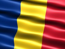 Flag of Romania. Computer generated illustration of the flag of Romania with silky appearance and waves royalty free illustration