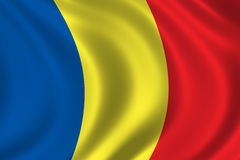 Flag of Romania. Waving in the wind Stock Photography