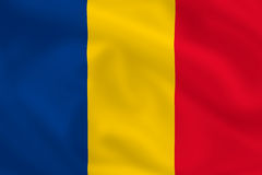 Flag of Romania. Romanian satsilk waving flag (country from europe Stock Photography